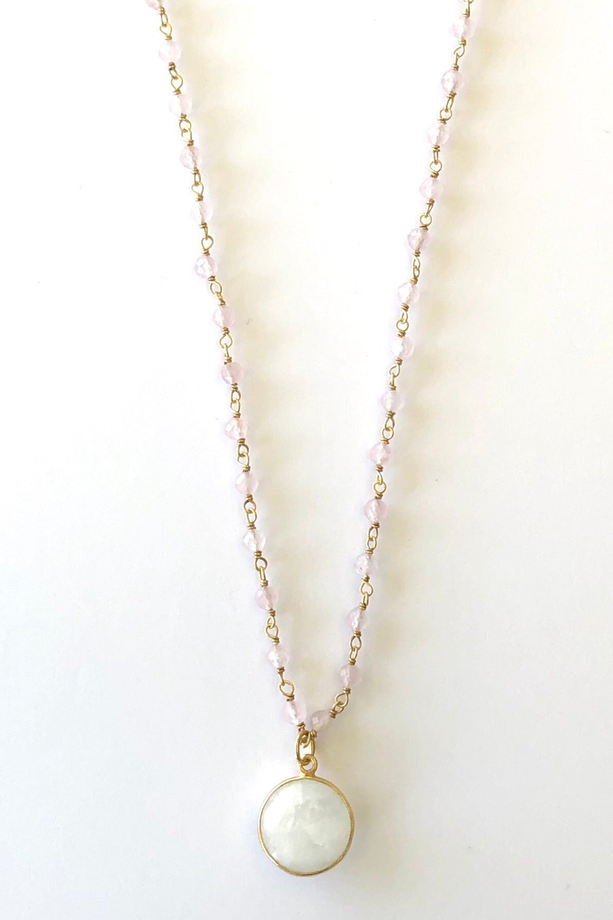 Oracle Venezia Necklace Moonstone Round, Vintage bohemian inspired necklace features 50cm length Gold vermeil and fine clear beaded chain, moonstone pendant set in gold vermeil.
