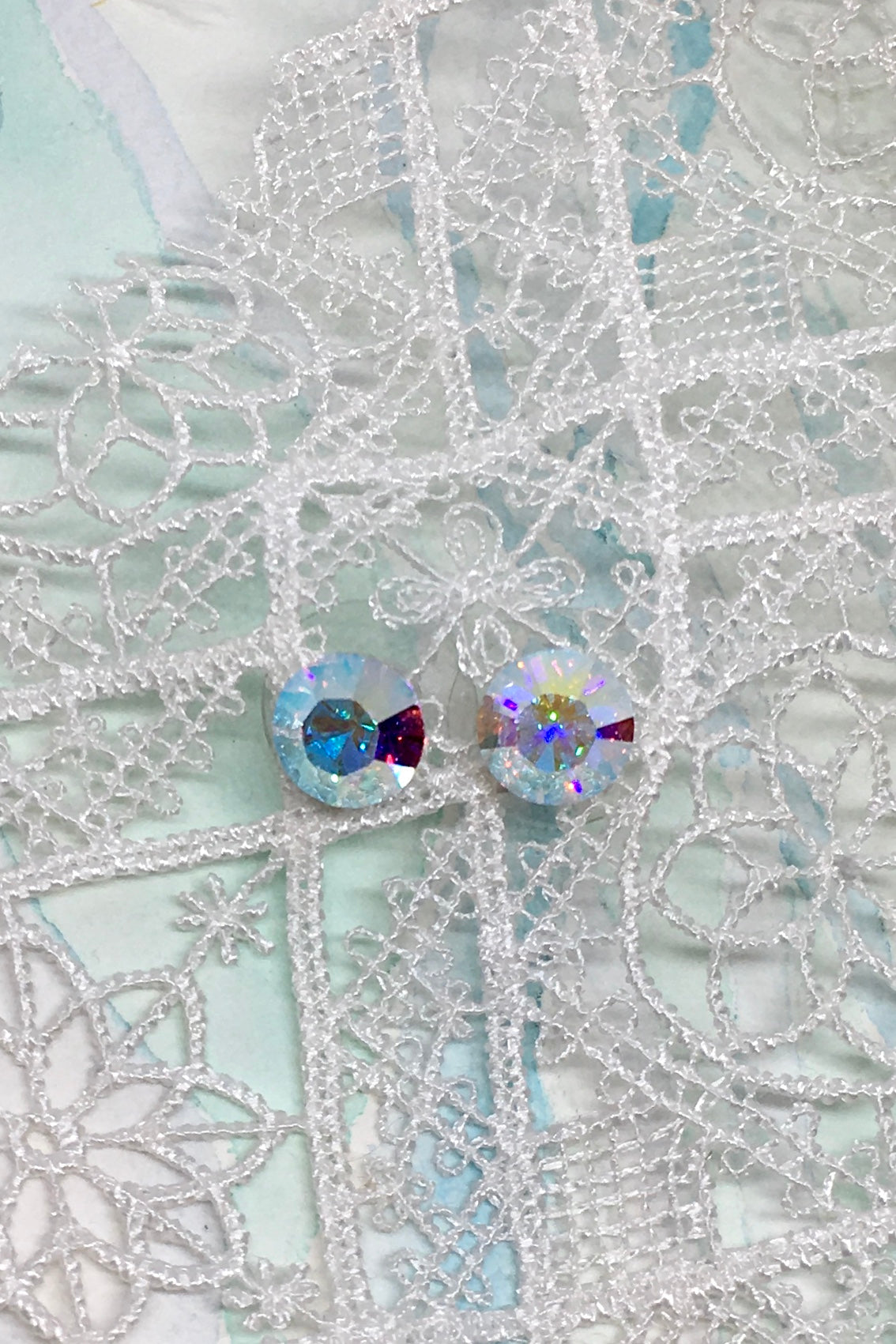 Earrings Crystal Stud, Swarovski Crystal sparkly stud earrings for wedding and bridesmaids in diamante, blue and pink