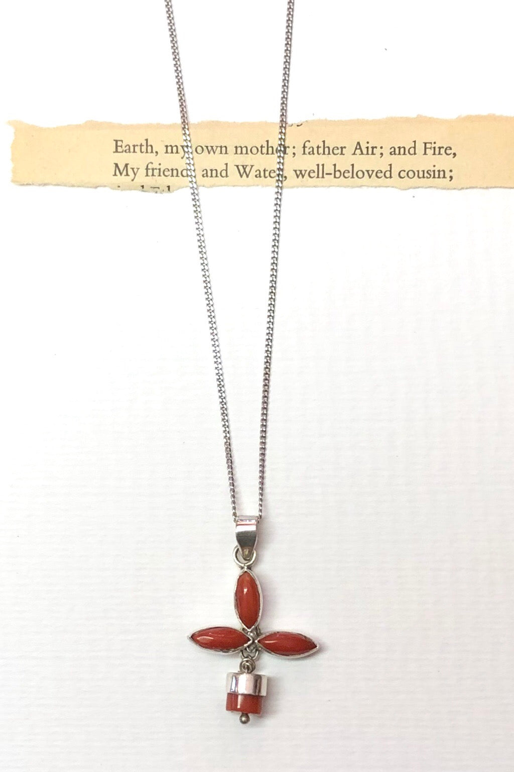 Echo Red Coral and Silver Vintage Pendant is an old piece that has a polished deep red orange coloured coral and 925 silver set pendant.