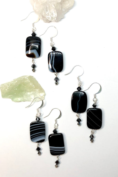 Earrings Rock Banded Black Onyx