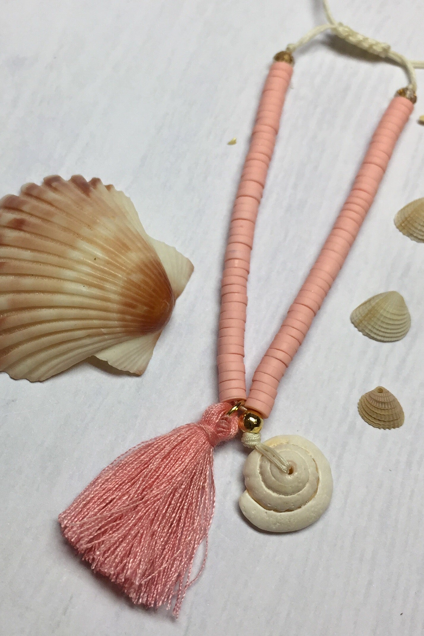 Beach Bracelet with Shell Detail in Turquoise, Orange or Pink