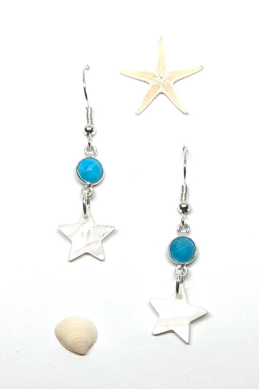 Earrings High Tide tiny Shell Star is delicate little Mother of Pearl star hangs from a turquoise coloured stone featuring 4cm long, made in Noosa Australia.