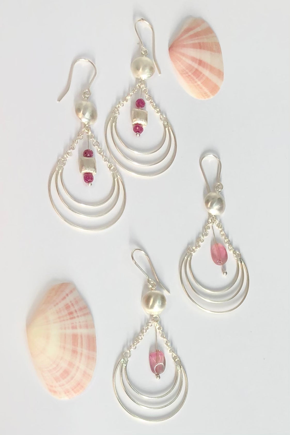 Earrings Pemba Silver Wire Domed Pinks