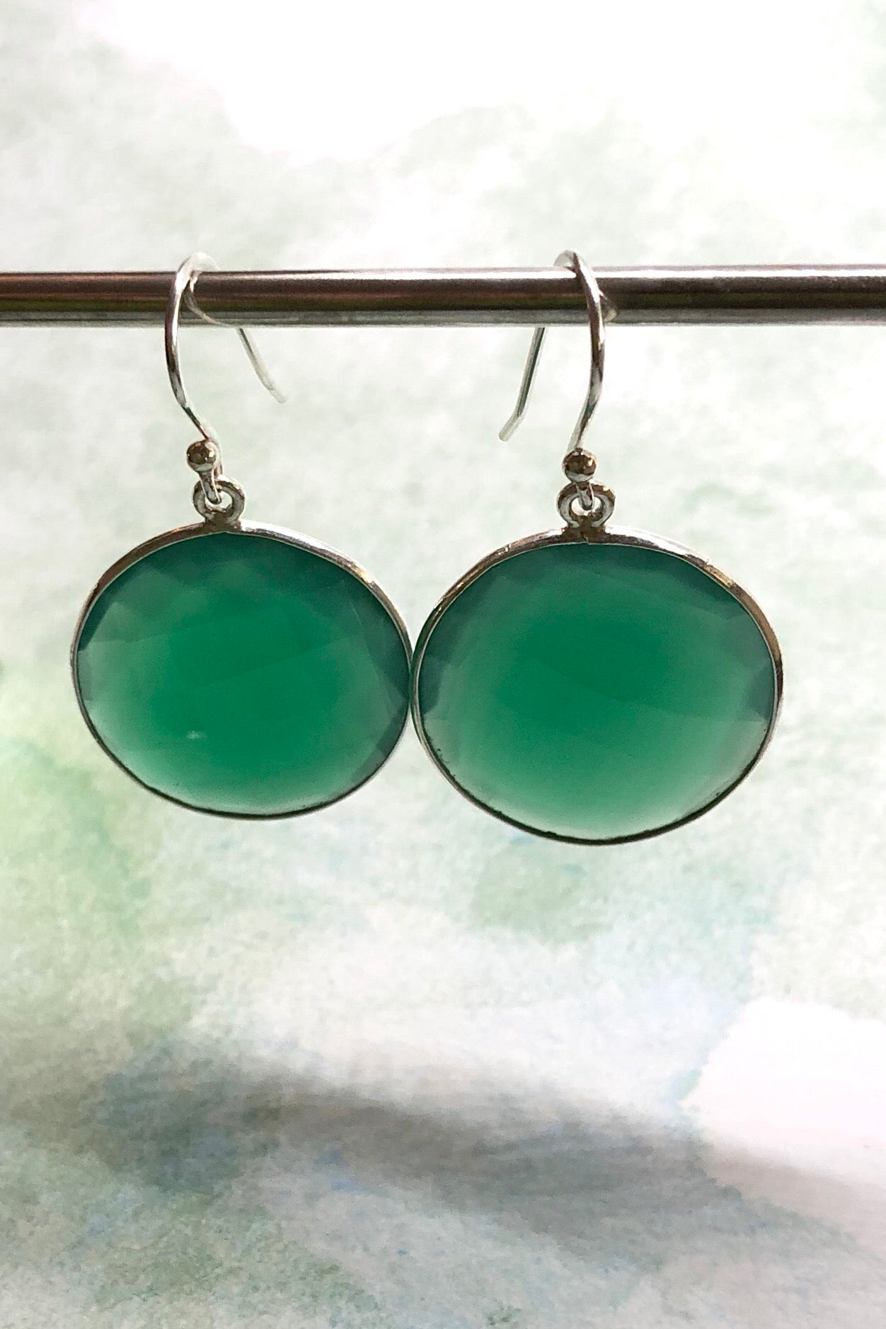 Earrings Green Quartz Circle
