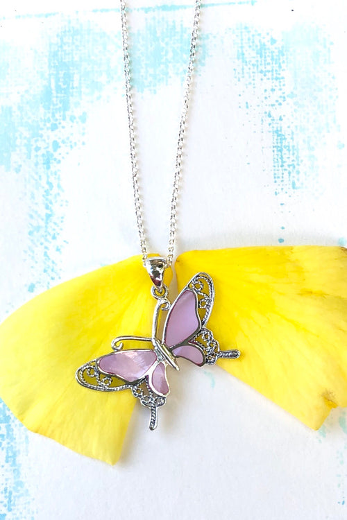 Oracle Pendant Butterfly Pink Pearly in 925 Silver