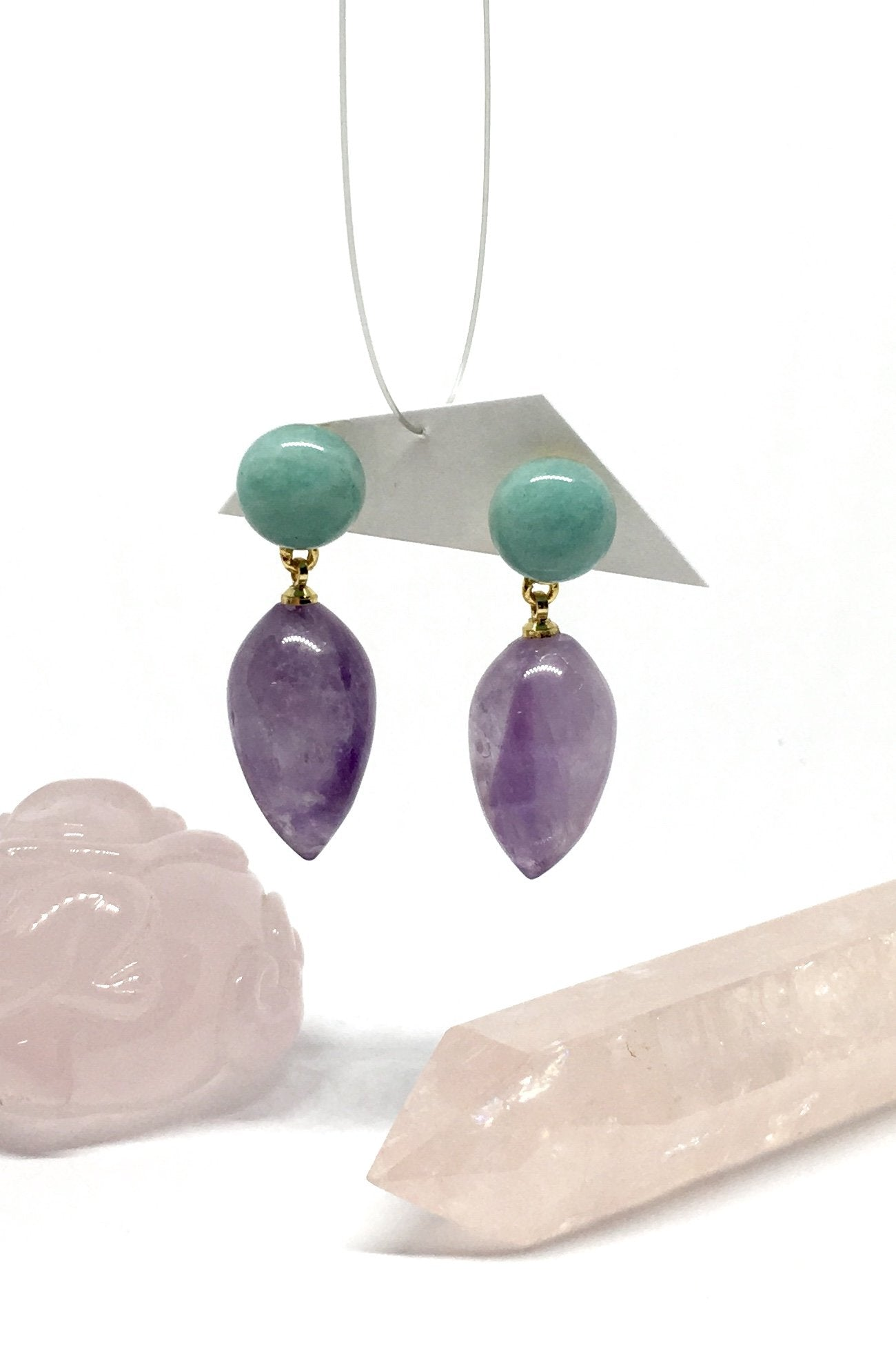 Amethyst Drop style earringsEarrings Ado Yves Amethyst and Amazonite are green mint quartz drop style earrings featuring approximately 2.5cm length, gold colour stud back, amethyst droplets held by spheres of amazonite.