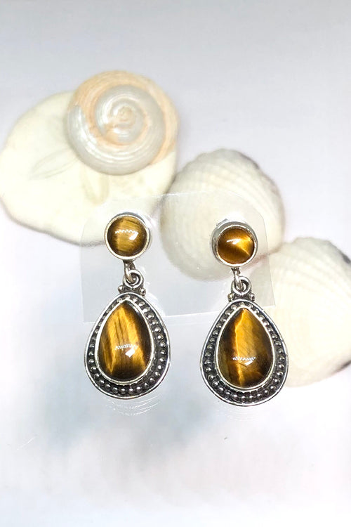 Oracle Earring Orb Drop Tigers Eye Cabachon in Silver