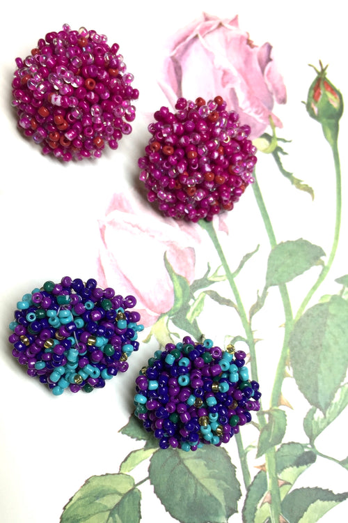 Earrings Seeds Button in Hot Pinks or Purple Heather