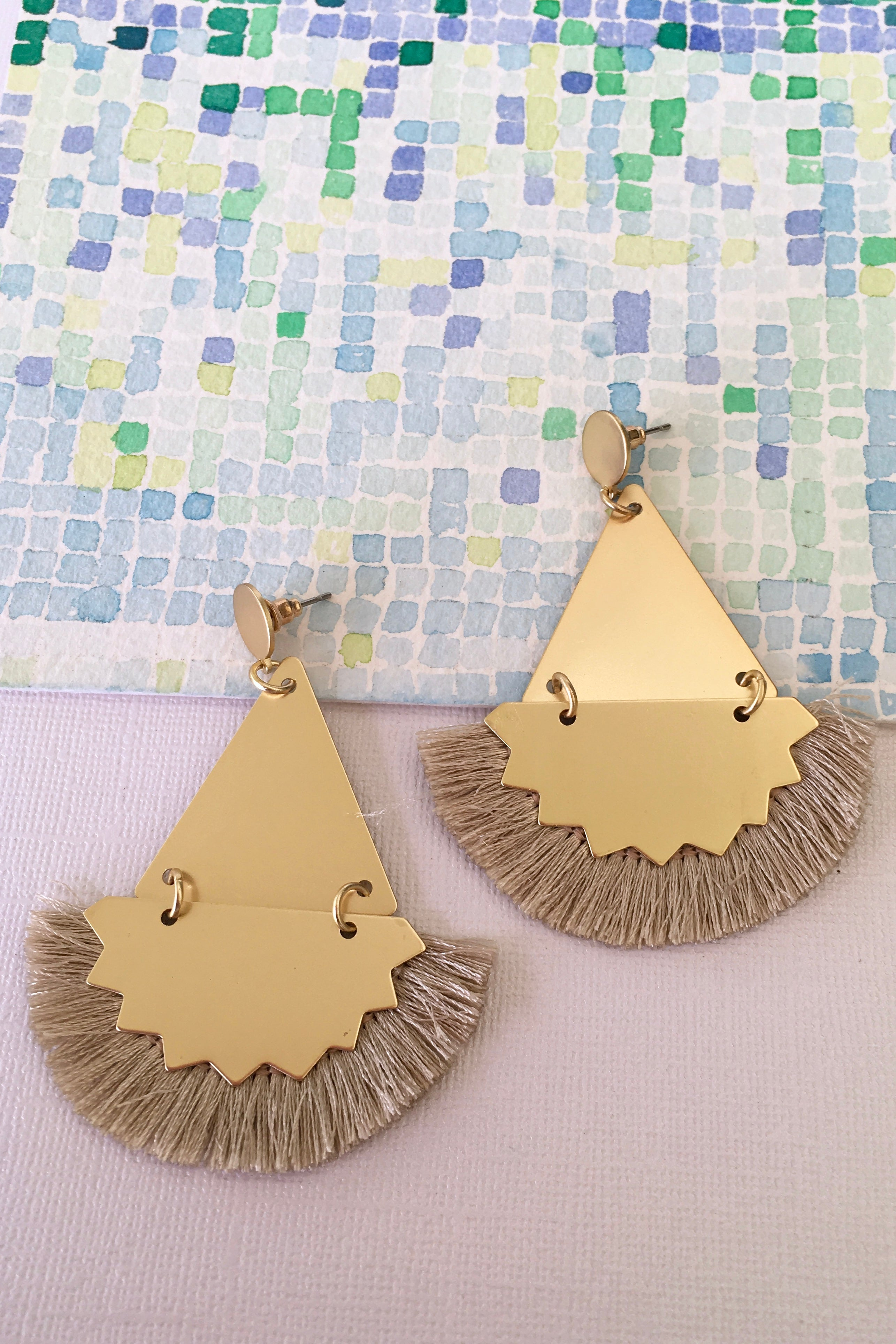 Earrings Y Champagne Ziggy, summer party earrings with fringe detail