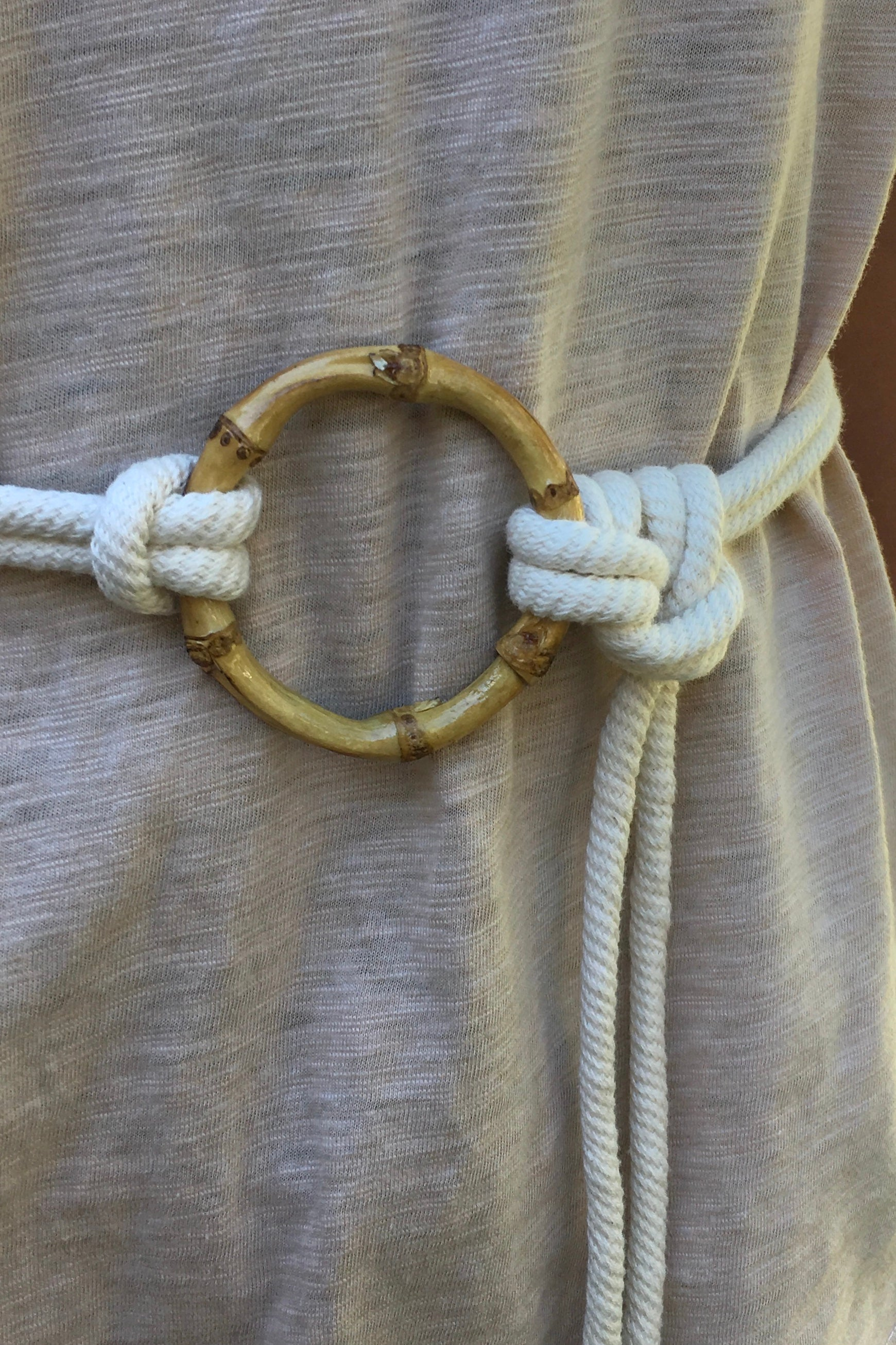 A luxurious rope tie belt with a funky bamboo belt buckle