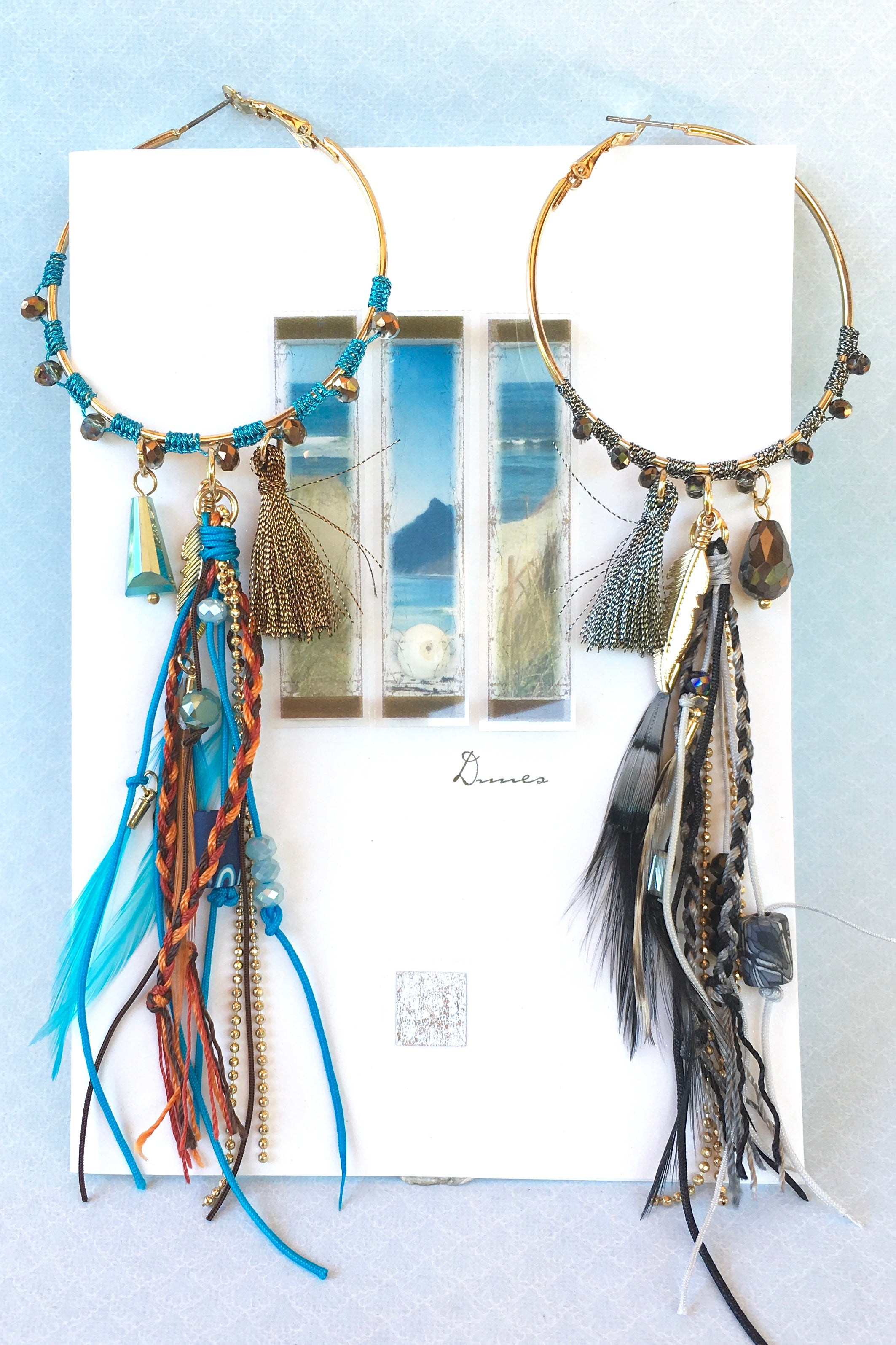 Women's statement jewellery. Gold Hoop Earrings with feathers, braids and beaded detailing. Gypsy and bohemian inspired. In Turquoise or Black. Perfect for festivals, holidays, night out. Gorgeous accessory, perfect gift for all women. Designed in Brisbane Australia.