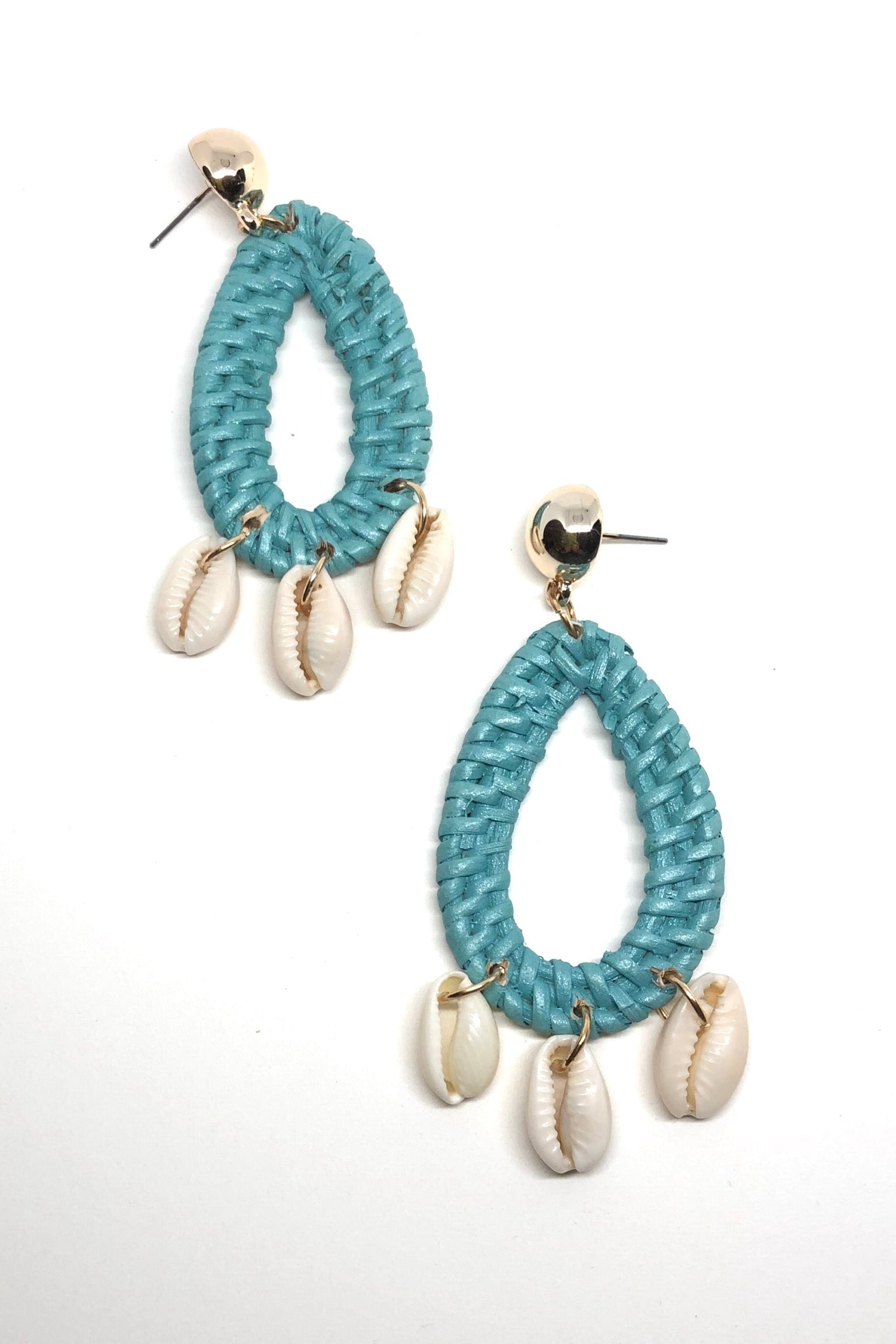 statement drop earrings with hanging cowrie shells