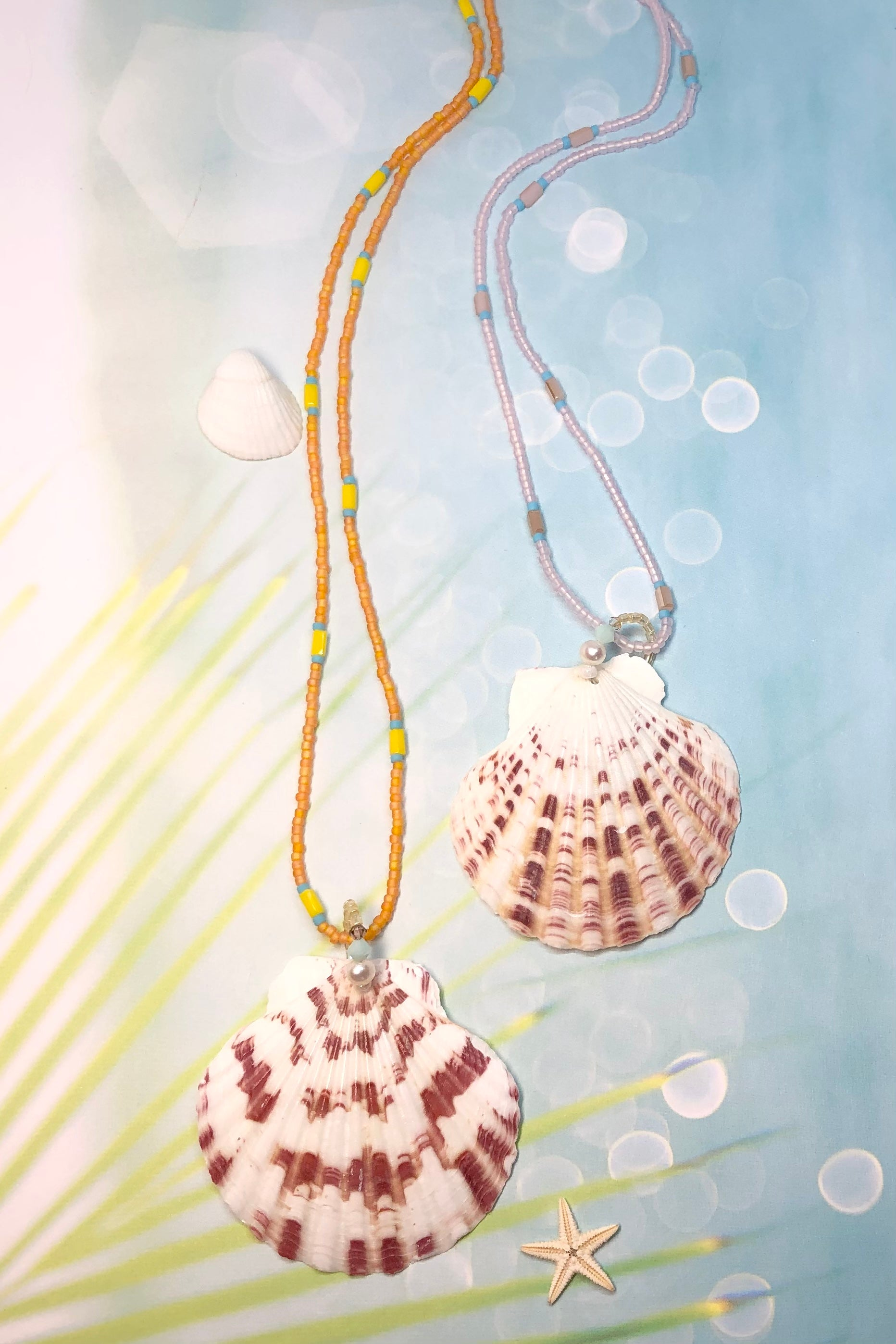 A stunning sea shell necklace with an island vibe, every sea shell is different, every necklace tells a story.
