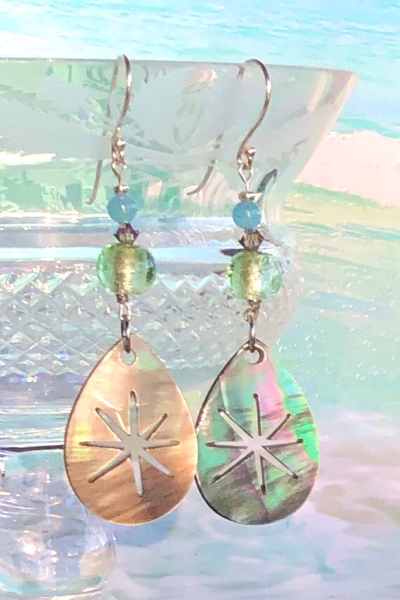 Earrings Serendipity Starburst silvery grey Shell are handmade exclusively for us in Noosa. The luminescent Mother of Pearl shell has been hand cut and polished.