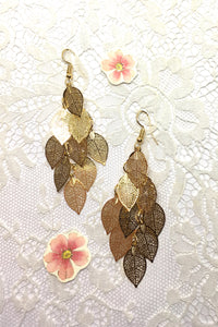Earrings Fluttery Golden Leaves