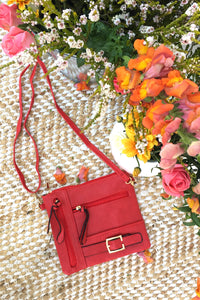 Bag Yeah Cross Body in a bold red colour, vegan leather with adjustable strap, miniature crossbody bag perfect for evening wear.