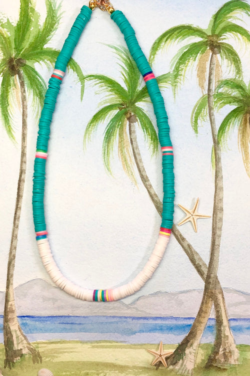 Necklace Summer Heishi White and Teal