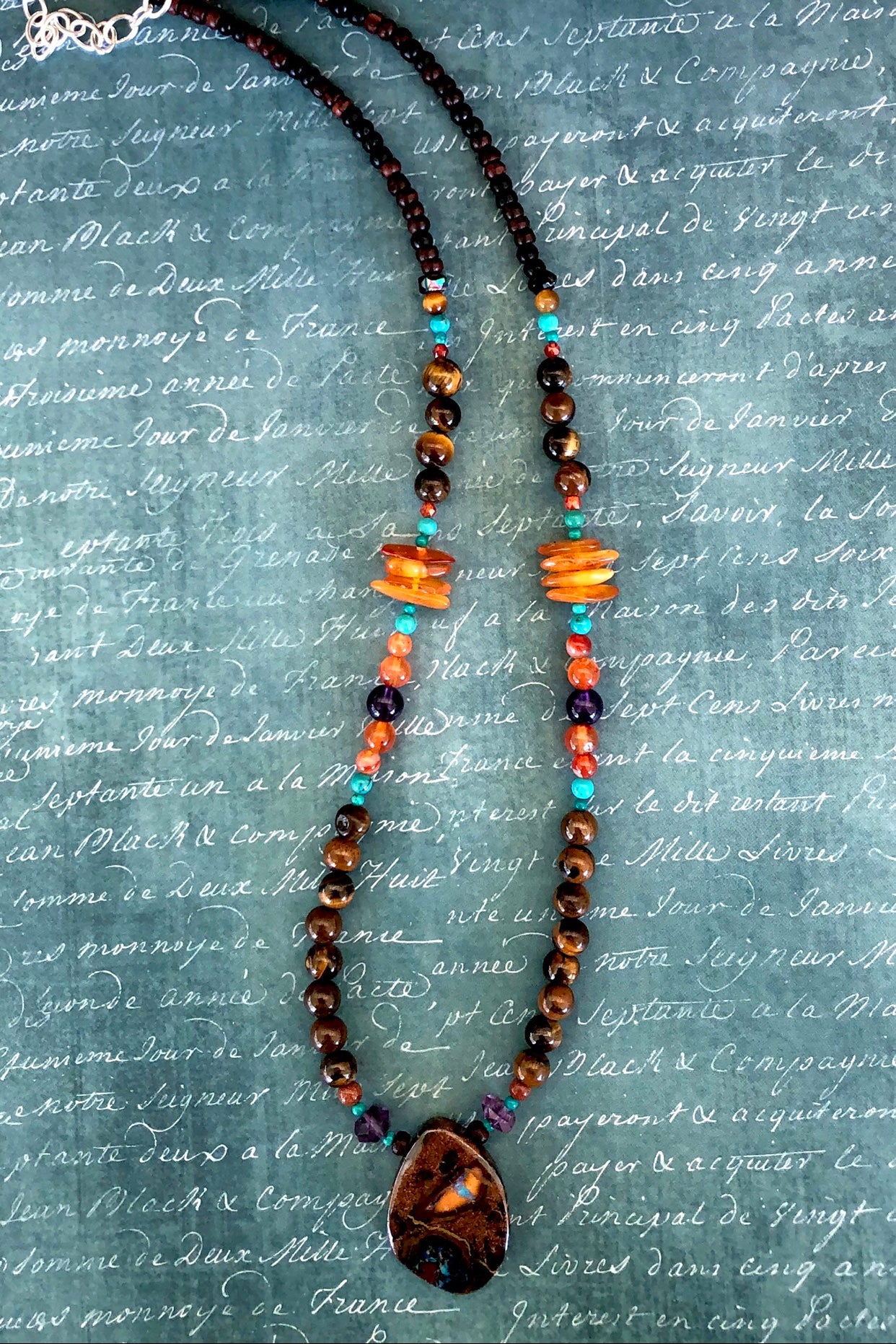 This necklace has been designed using many different semi precious gemstones