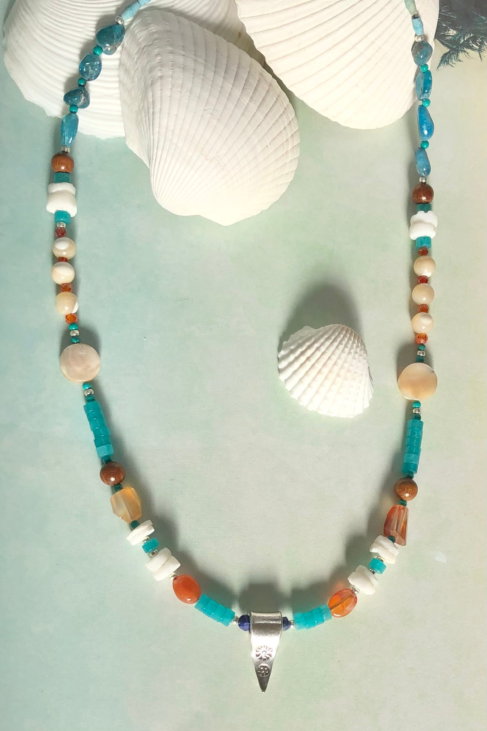 The beads in this range are all natural materials, gemstones, shell and wood.