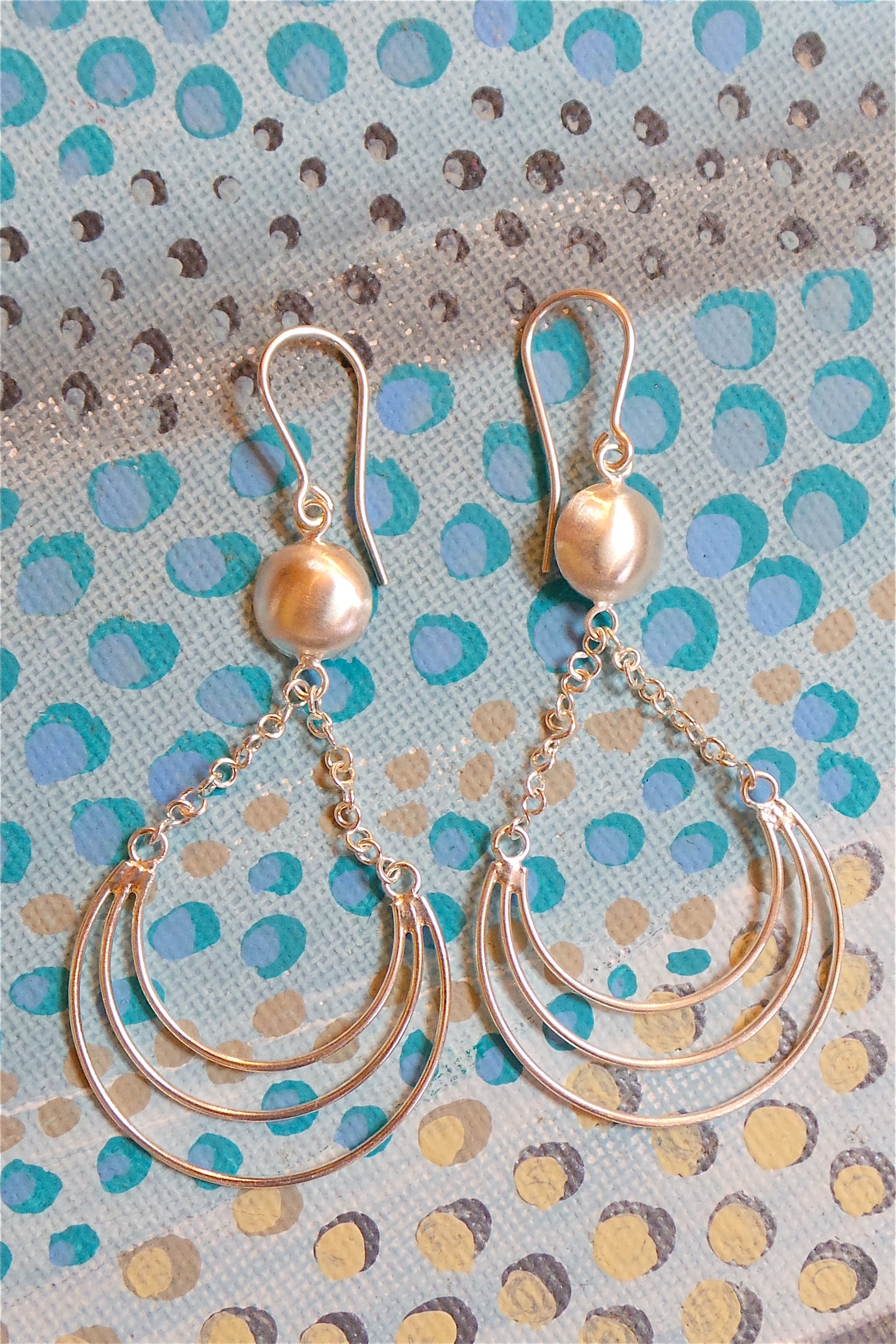 Silver Wire Domed Earring, 925 Silver Brushed Satin Finish Earrings