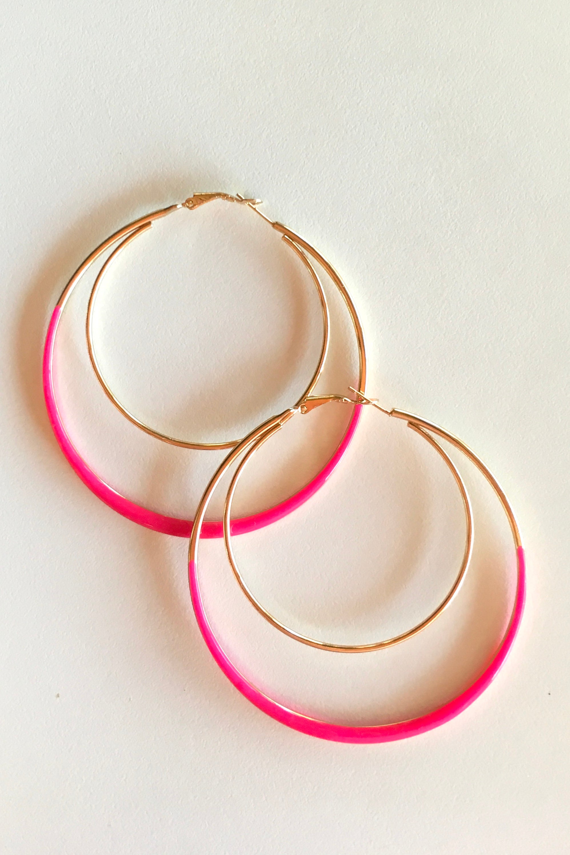 Earring Hoop Hot Pink Large