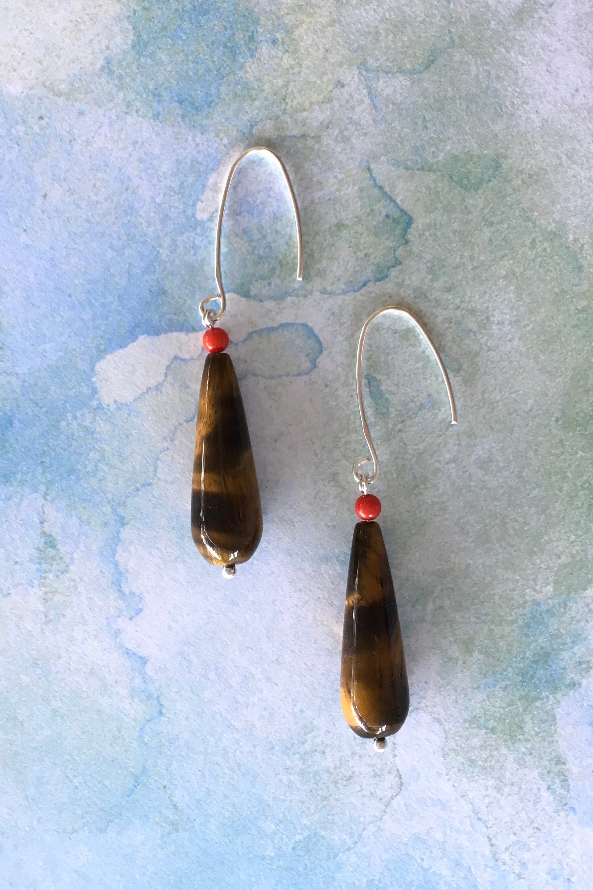 Women's jewellery. Tigers eye moonstone crystal drop earrings, drop style  bohemian and gypsy inspired sea blue stones in a teardrop shape. 925 silver hook. Great for everyday, night out, event, occasion. Beautiful gift and accessory. Lightweight. Designed in Brisbane Australia.