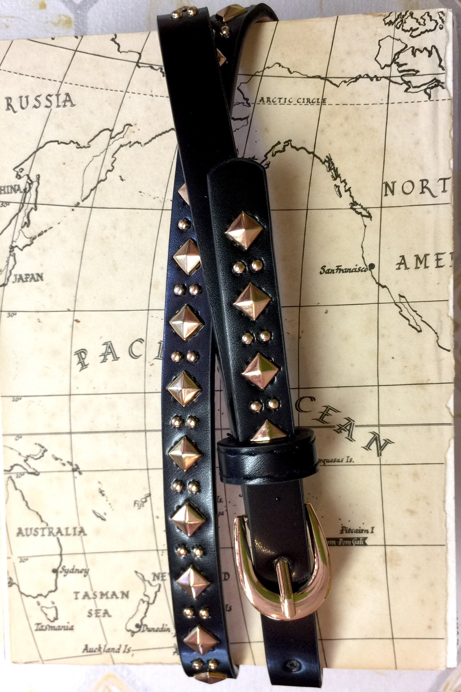 The Studlet Belt features gold stud details