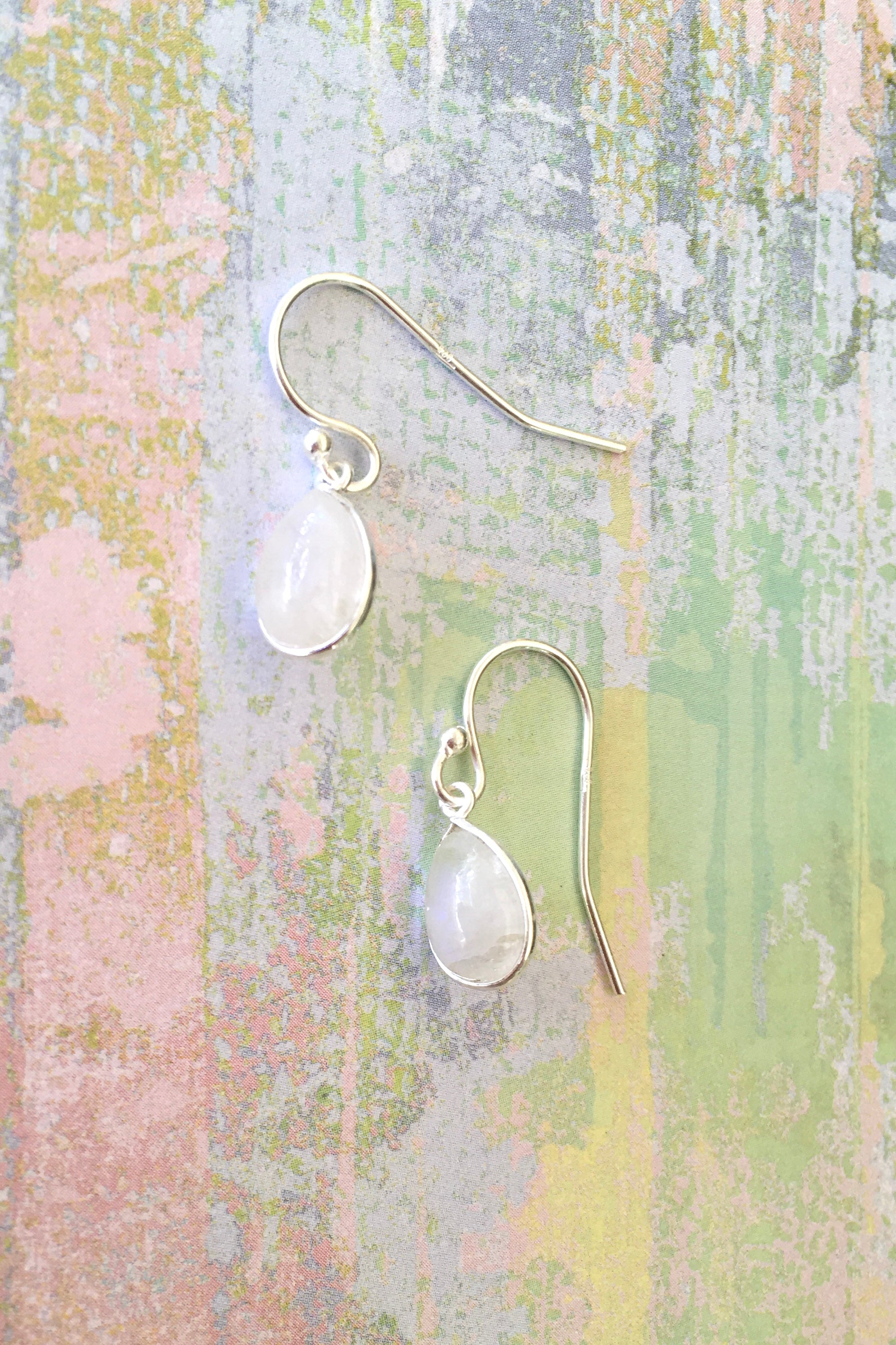 Oracle Moonstone and Silver  Mini Drop Earrings