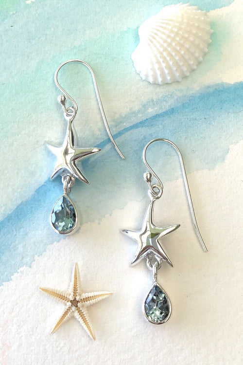Oracle Silver Seas Earrings Starfish Gemdrop Blue