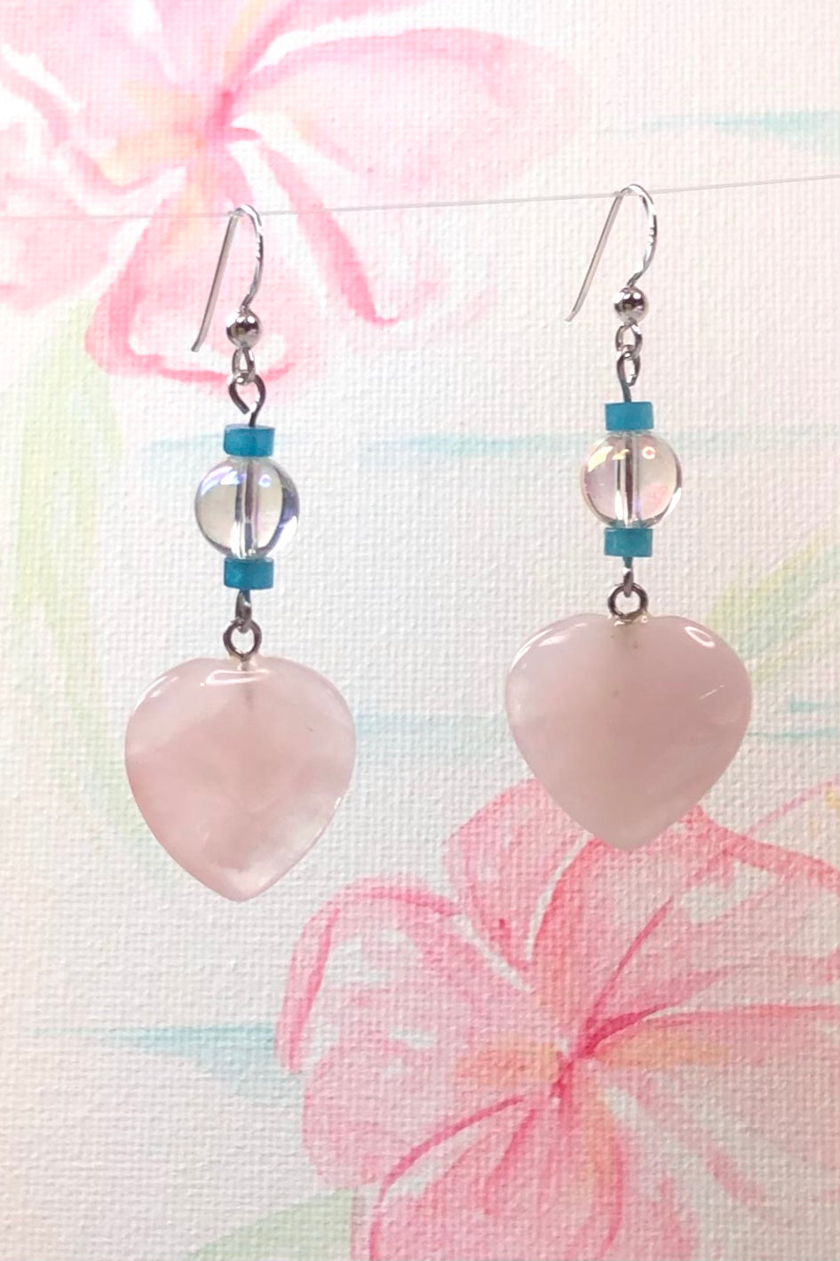 Earrings Paloma Heart Rose Quartz