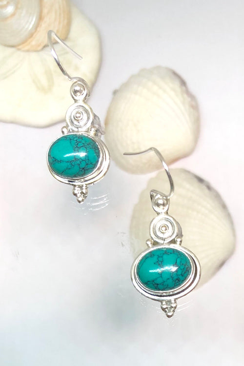 Oracle Earring Orb Coil Top Turquoise in Silver