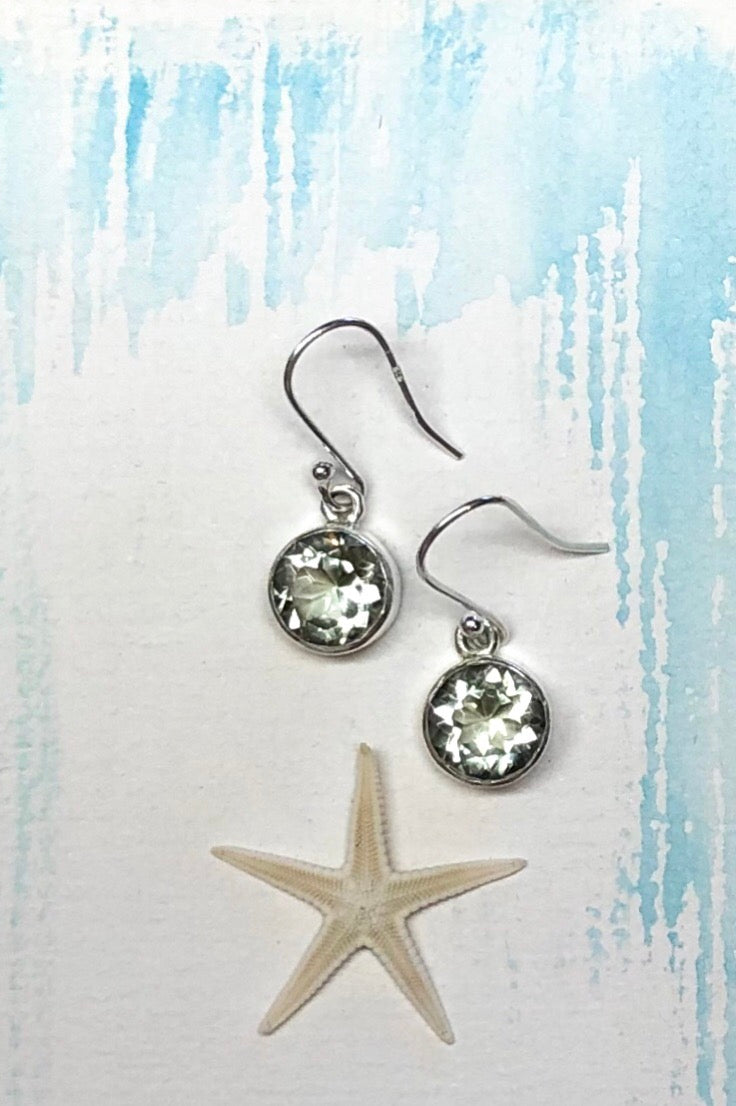 Oracle Earrings Penny Drop in 925 Silver and Mint Quartz
