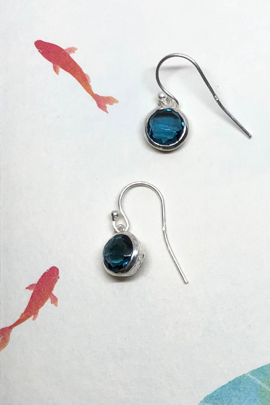Oracle Earrings Rondo Montana Blue Quartz is a tiny gemstone earrings featuring approximate 2cm length including hook,  925 solid silver fish hook, modern minimalist design.
