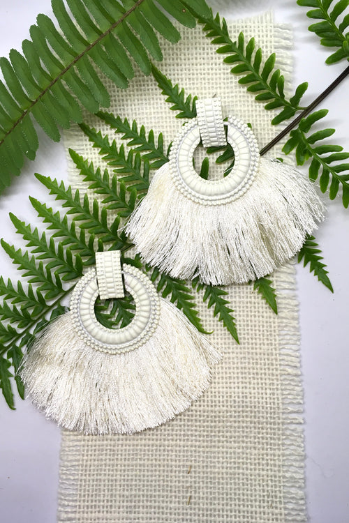 Earrings Adore with Cream Fringe