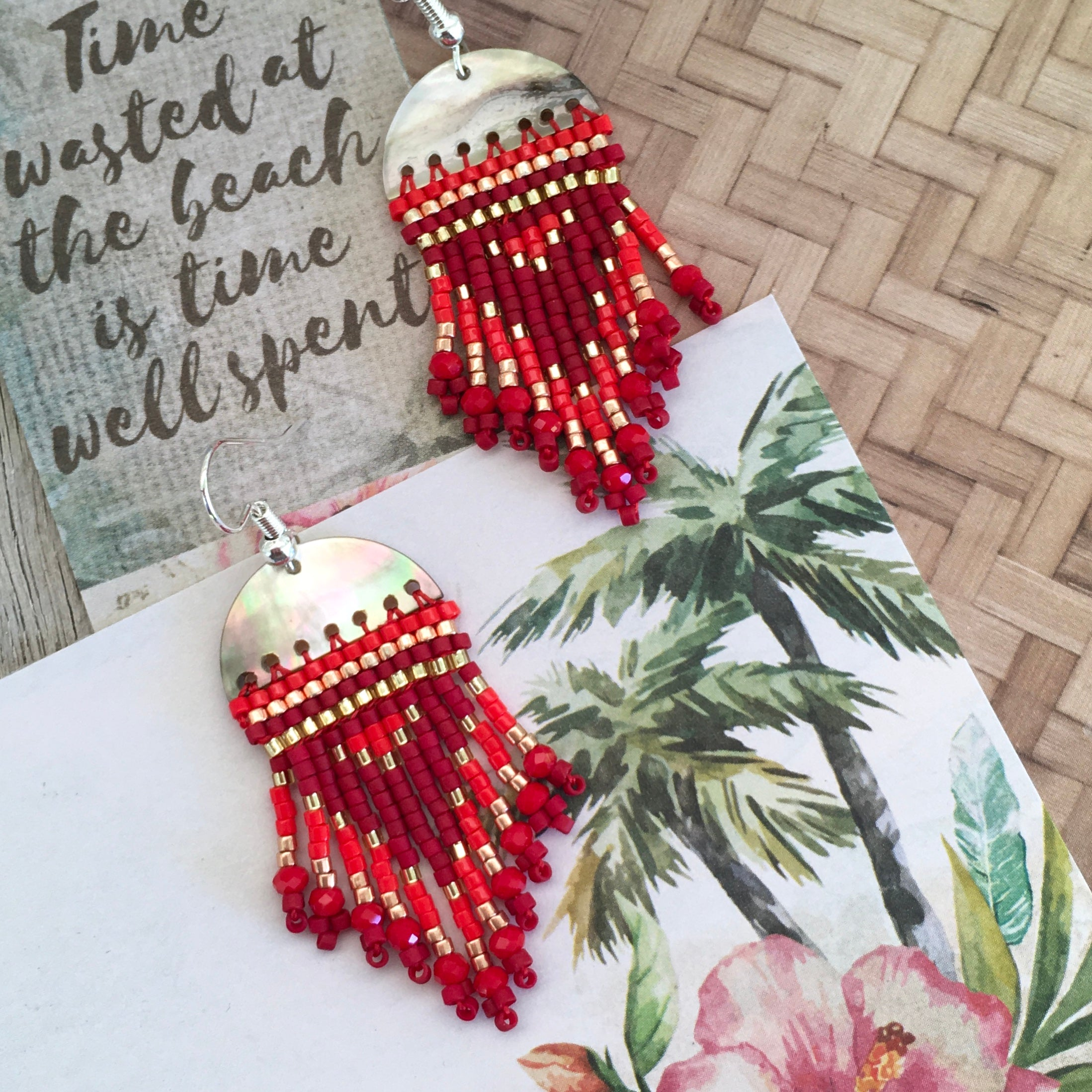 Earrings Rising Moon Red, shell and bead earrings, mother of pearl and seed beads, perfect red earring