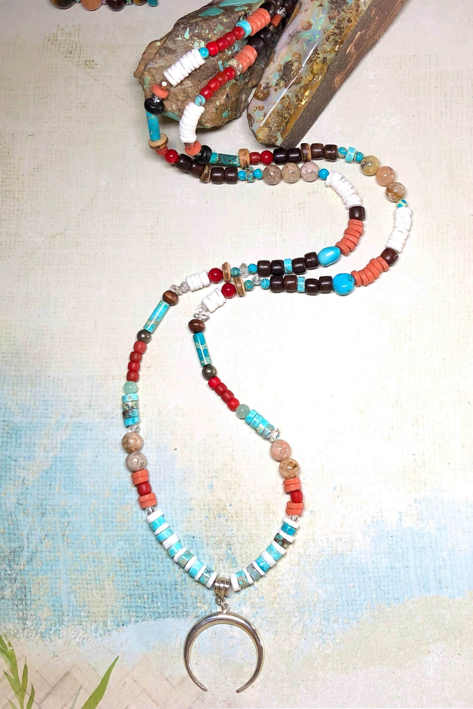 Necklace Cay Crescent Tucson with Natural Gemstones, 925 sterling silver pendant, Stones include Coral, Rock Crystal, Howlite, Haematite, Antique Glass, Rose Quartz, Shell and Antique African beads.
