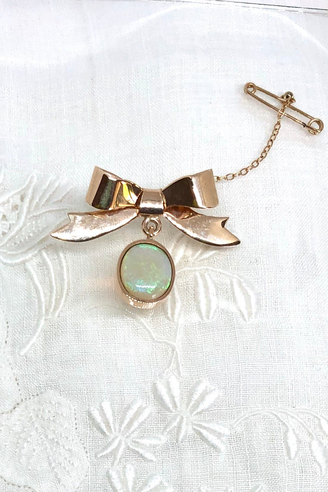 Vintage Solid Opal and 9ct Gold Bow Brooch