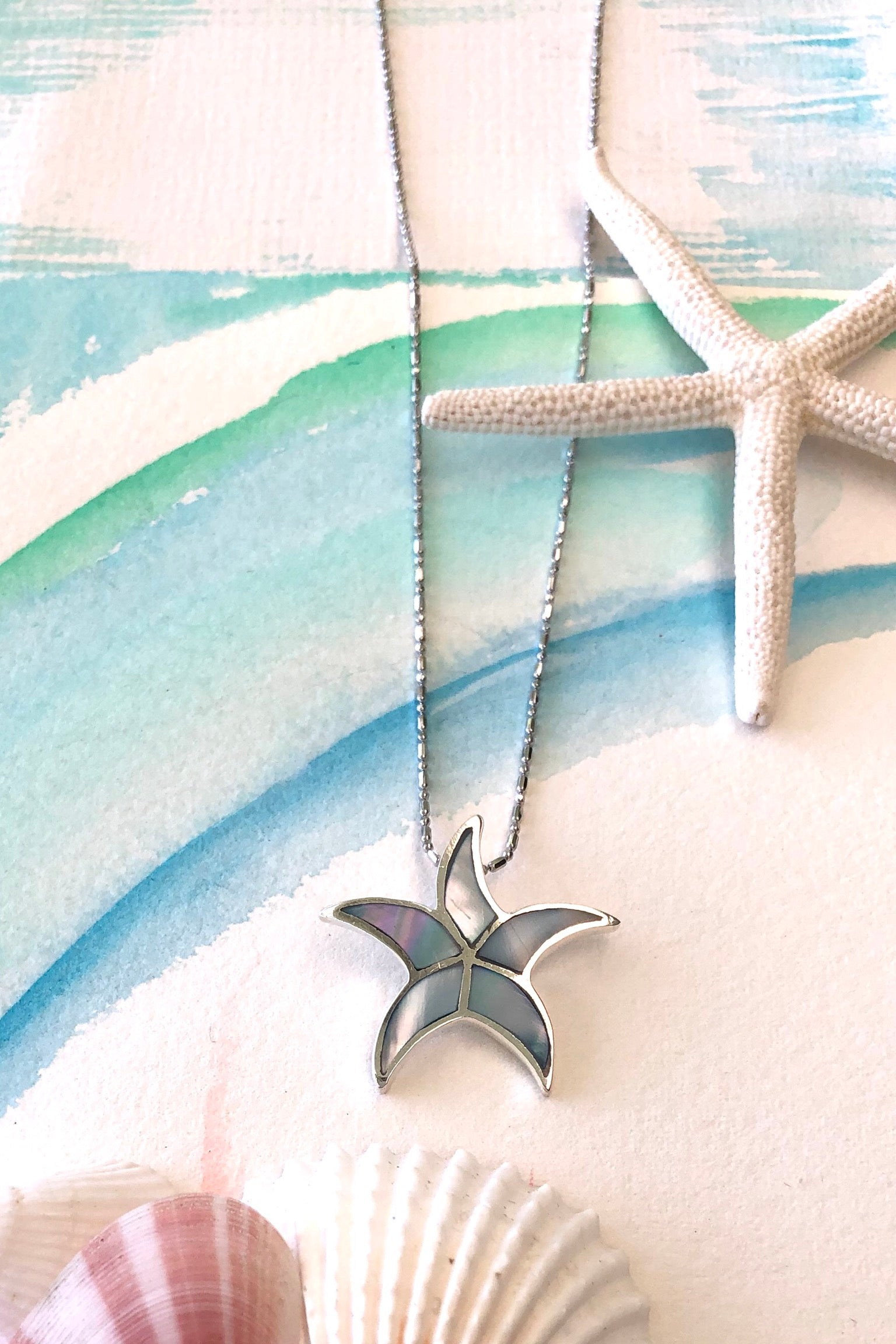 Oracle Silver Seas Pendant Starfish Inlay on chain, bohemian jewellery, 925 silver, mother of pearl.