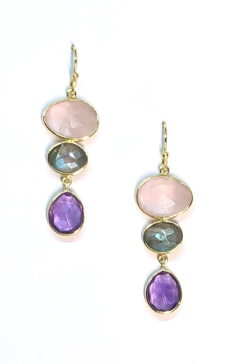 Oracle Earrings Golden Amethyst Moons