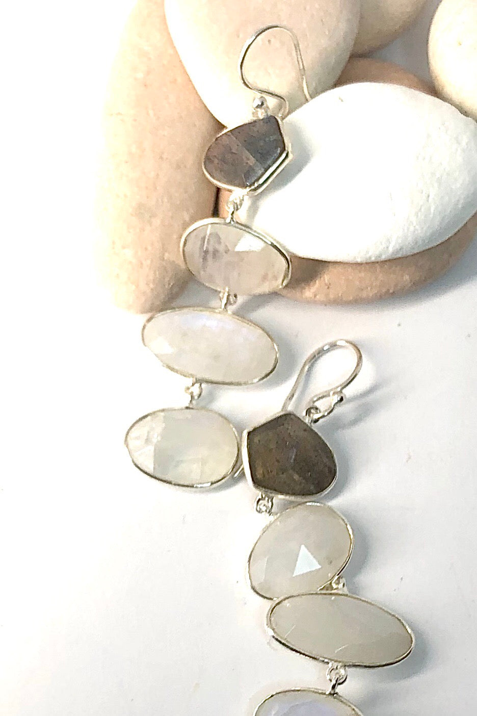 The Oracle Earrings Honore are the 925 Silver statement drop earrings featuring Rainbow Moonstone and Labradorite free cut drop style.