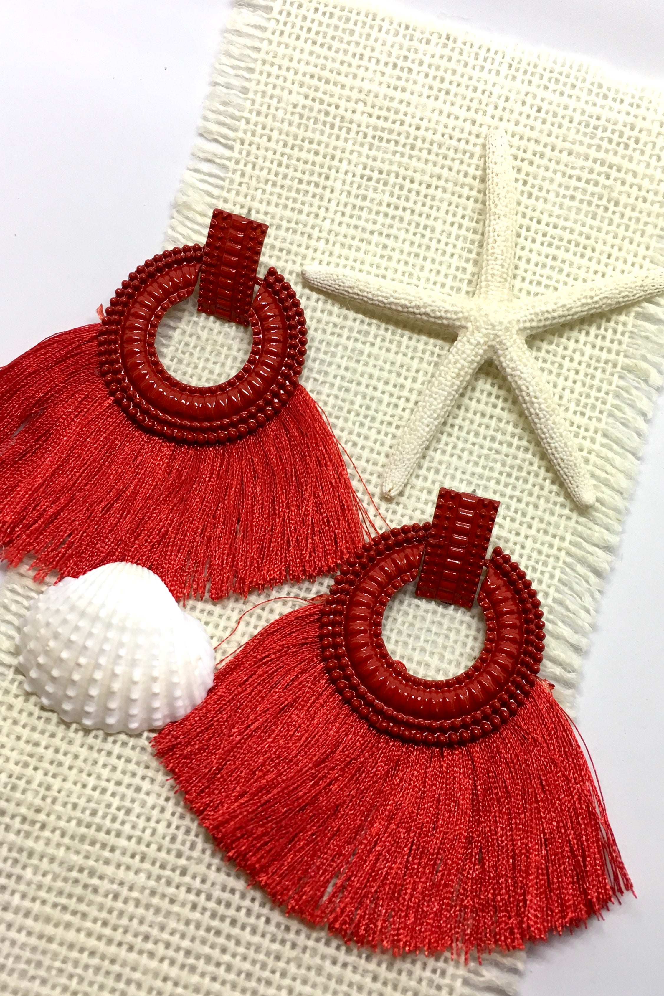 Earrings Adore with Red Fringe, boho luxe tassel earrings for summer