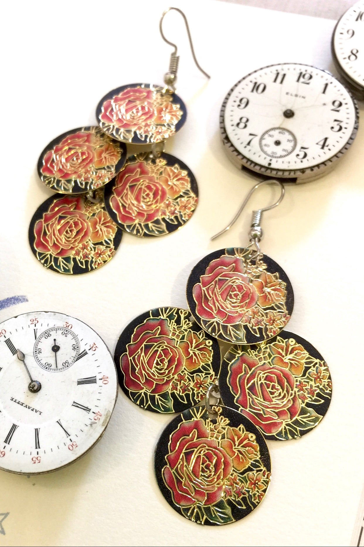 Earrings Roses Flutter, lightweight earrings with red and gold rose flower print