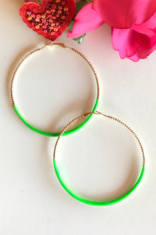 Earring Hoop Lime Green Large