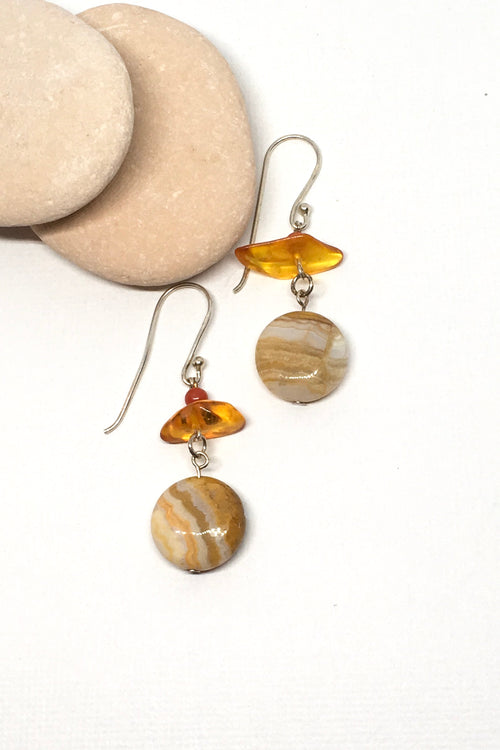 Earrings Samara Amber Agate and Silver