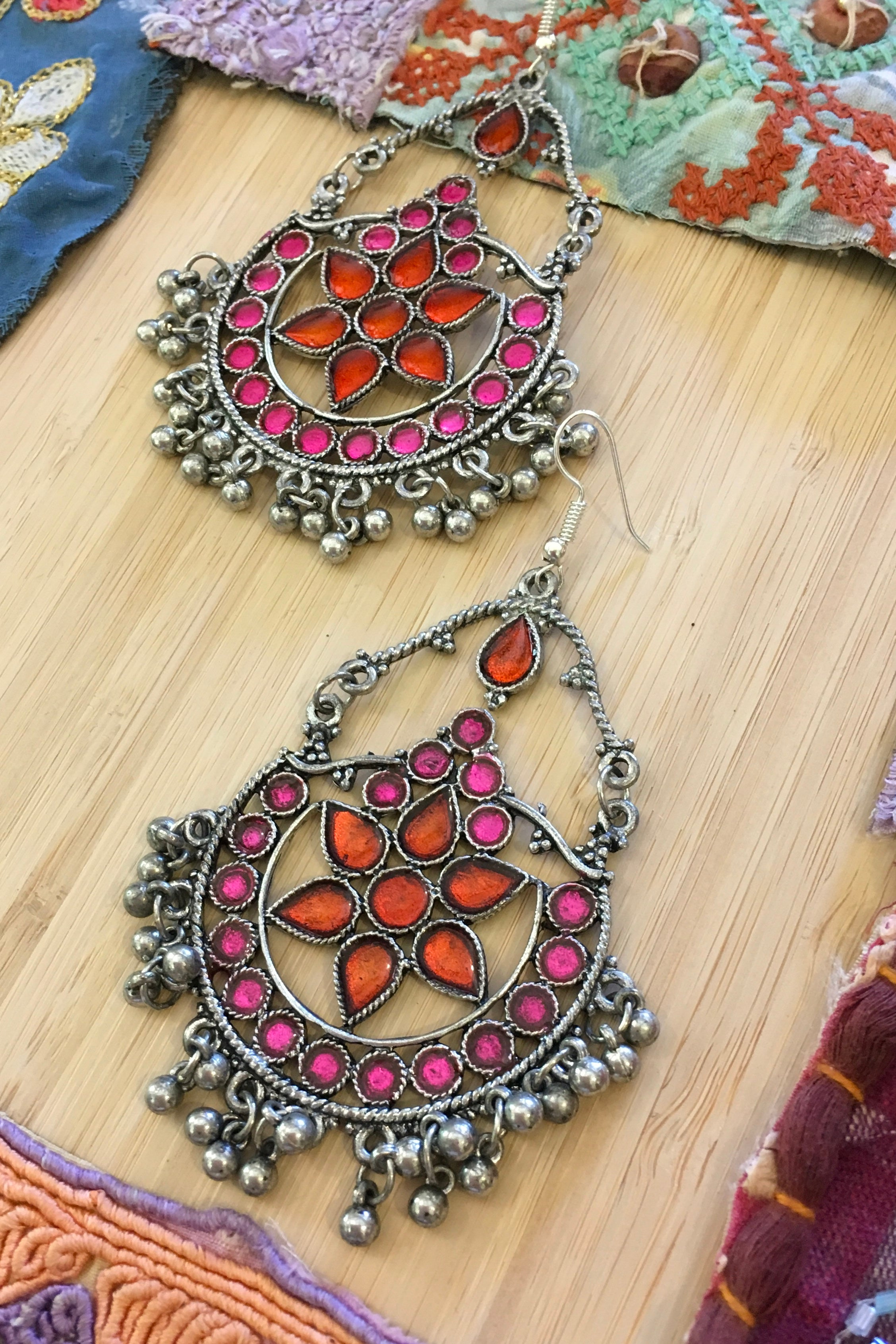 Earrings Gypsy Xmas Red and Pink Inlay
