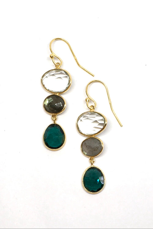 Oracle Earrings Golden Blue Moons 1