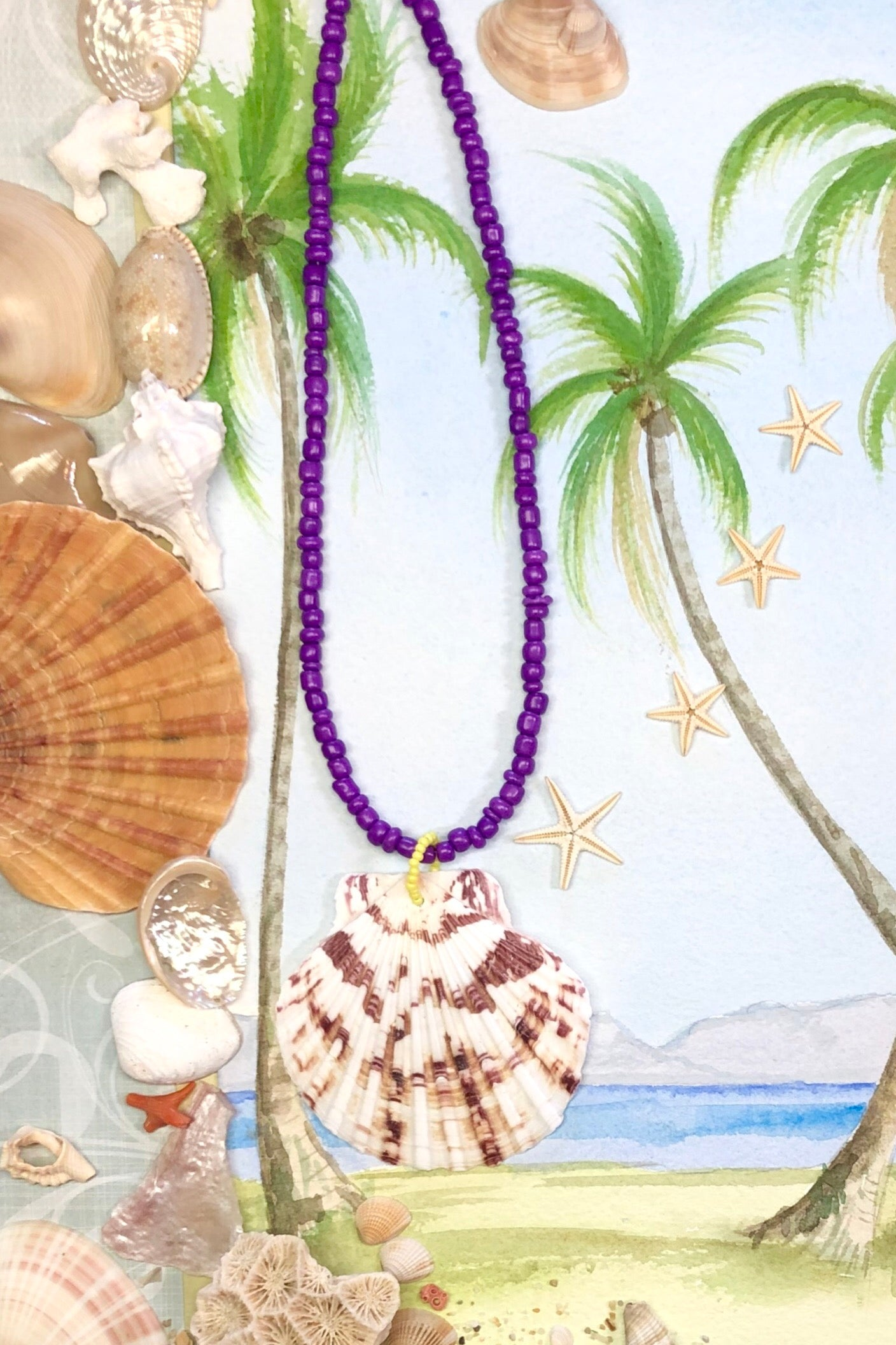 Shell necklace on bright beads