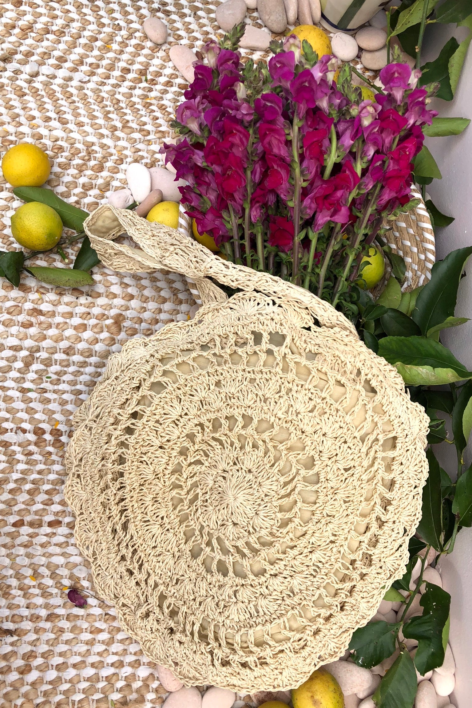 Bag Ava Rondelle Crochet Natural Colour, handmade straw bag bohemian style straw bag