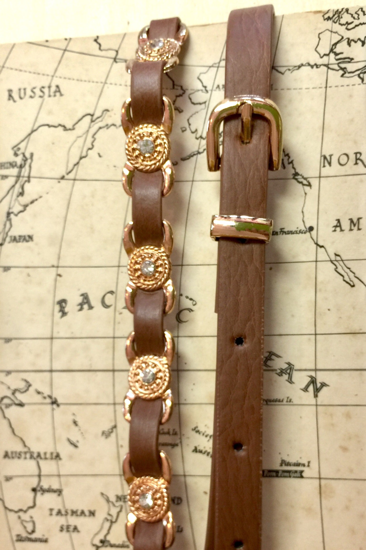 Belt Versus in Tan with gold detail