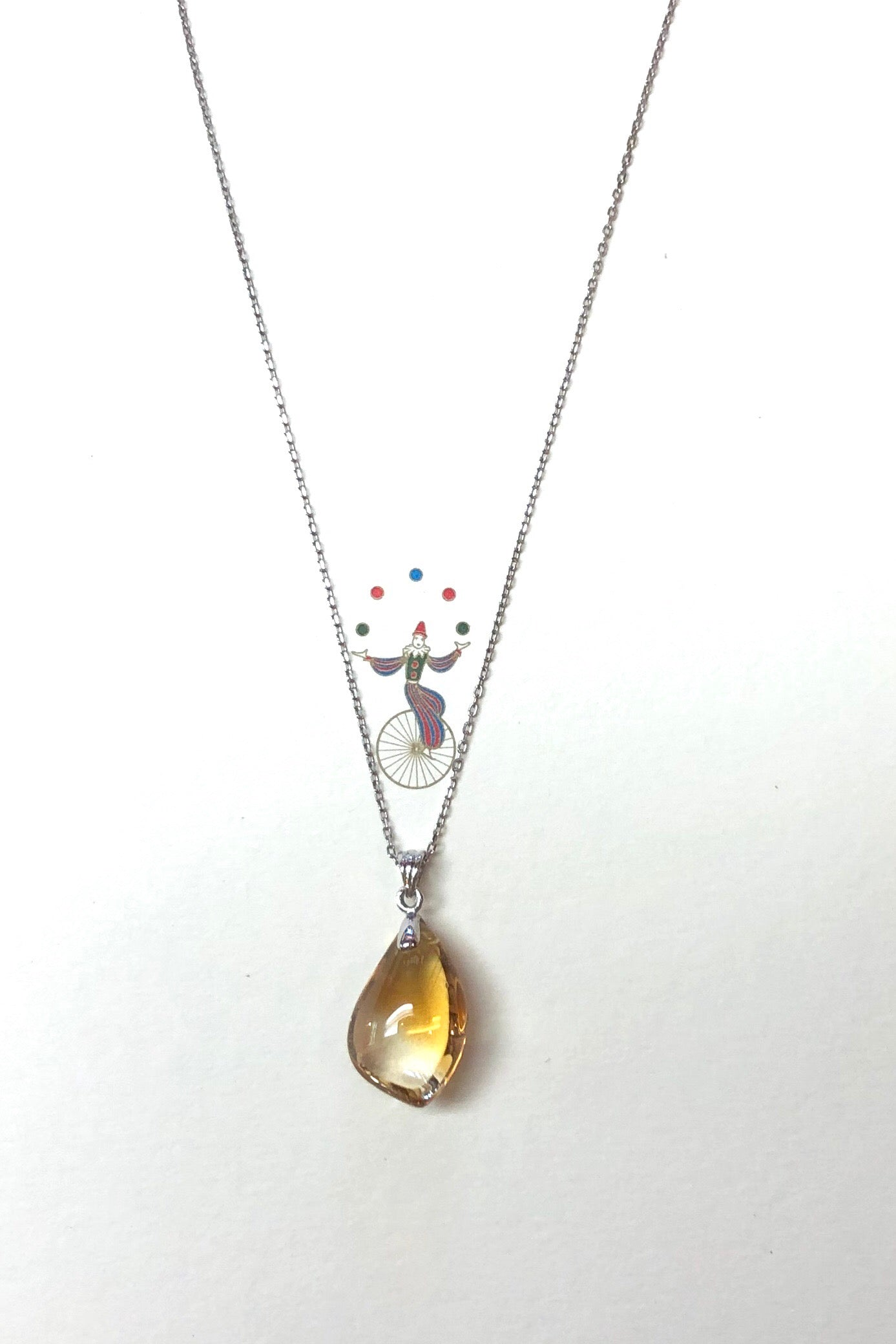 Pendant of Citrine on a Silver Chain, golden citrine crystal pendant